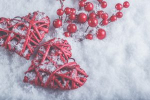 red twig hearts and holiday berries